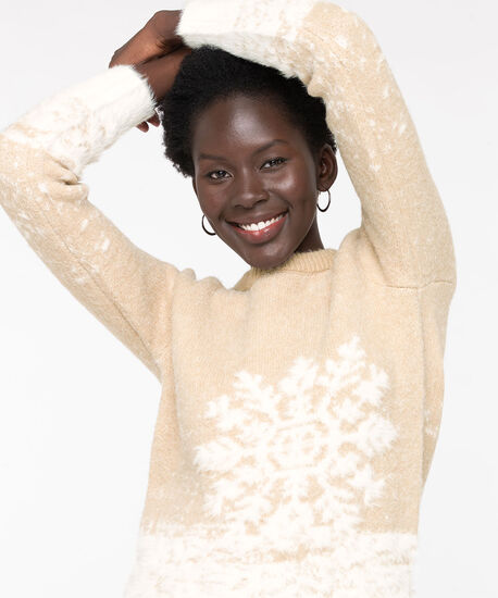 Snowflake Feather Yarn Sweater, Camel/Pearl, hi-res