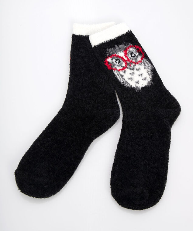 Owl Plush Socks, Black/Pearl/Crimson, hi-res