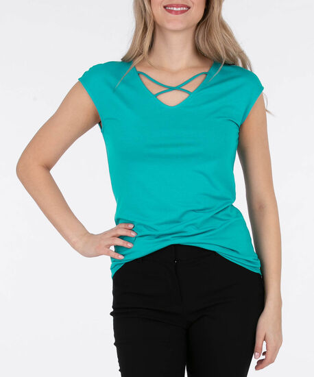 Cross Front Extended Sleeve Top, Soft Teal, hi-res