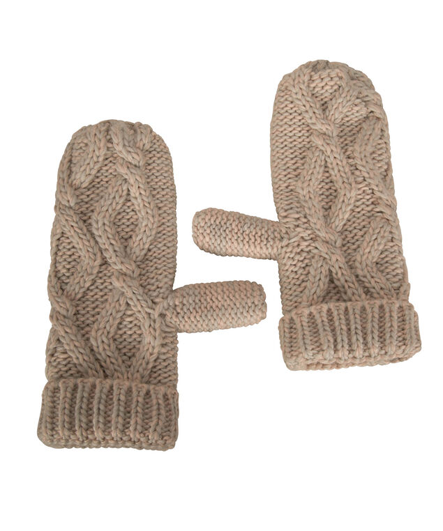 Chunky Cable Knit Mittens, Iced Peach, hi-res