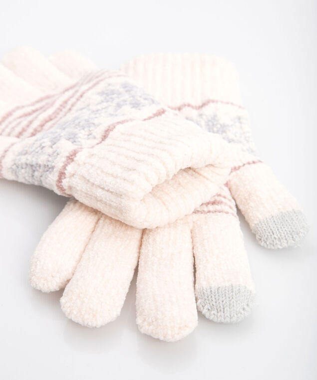 Chenille Snowflake Glove, Almond/Grey, hi-res