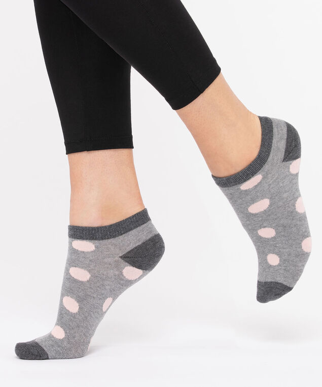 Polka Dot Ankle Sock, Grey/Rose Petal, hi-res
