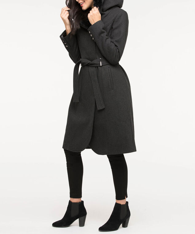 Hooded Tulip Hem Coat, Charcoal/Black, hi-res