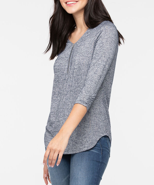 Zipper Front 3/4 Sleeve Top, Ink Blue, hi-res