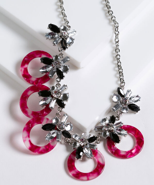 Crystal Cluster & Resin Hoop Necklace, Pink/Rhodium/Black