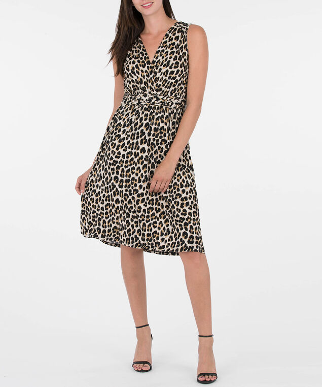 Braided Waist Animal Print Dress, Black/Beige/Taupe, hi-res