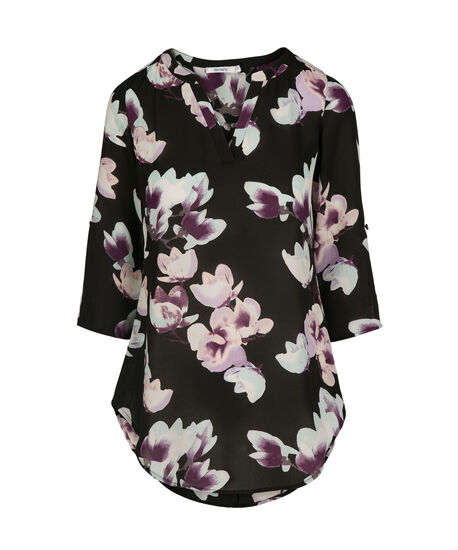 Roll Sleeve Henley Blouse, Black Floral, hi-res