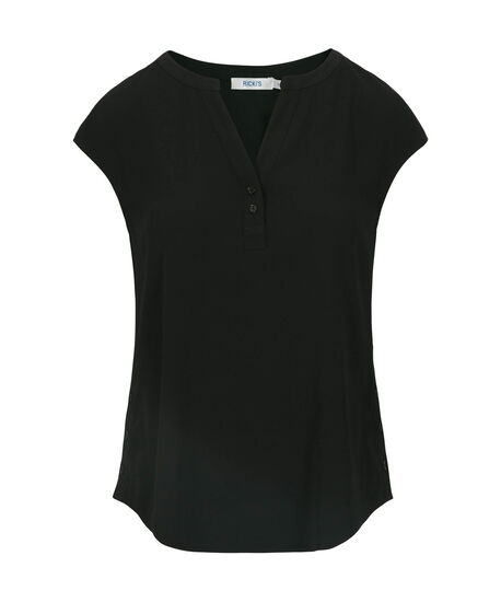 Stretch-Woven Henley Blouse, Black, hi-res