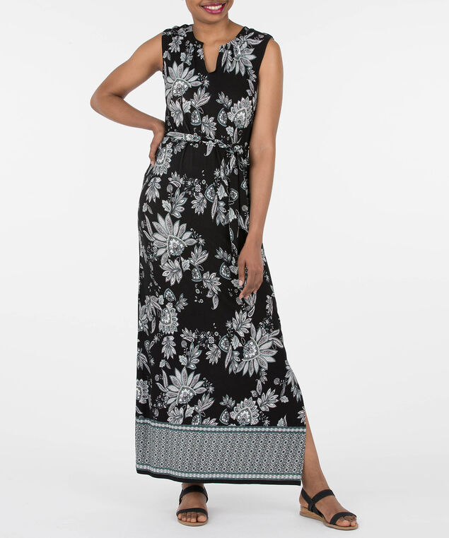 Sleeveless Border Print Maxi Dress, Black/Pearl/Rain, hi-res