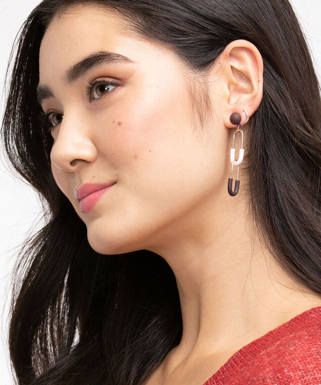 Two-Tone Chain Link Drop Earring, Gold/Ivory/Brown