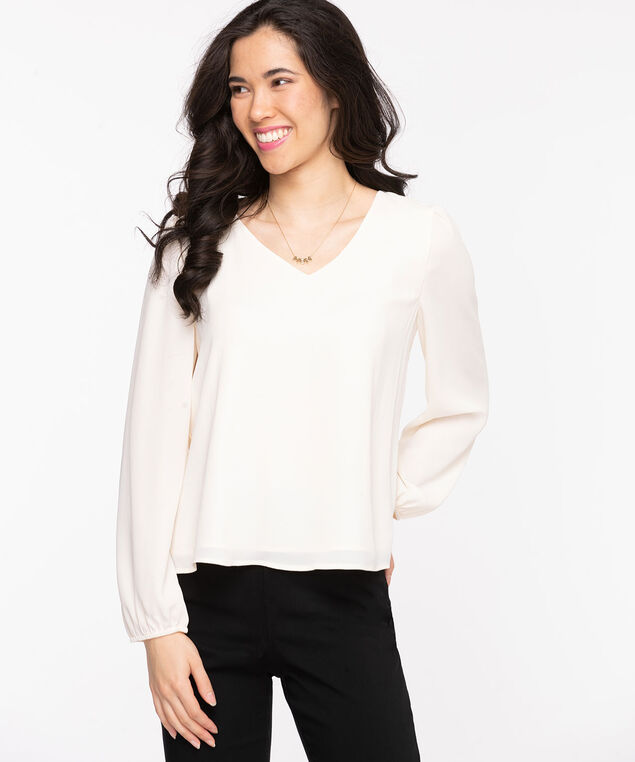 Long Sleeve V-Neck Blouse, Whisper White