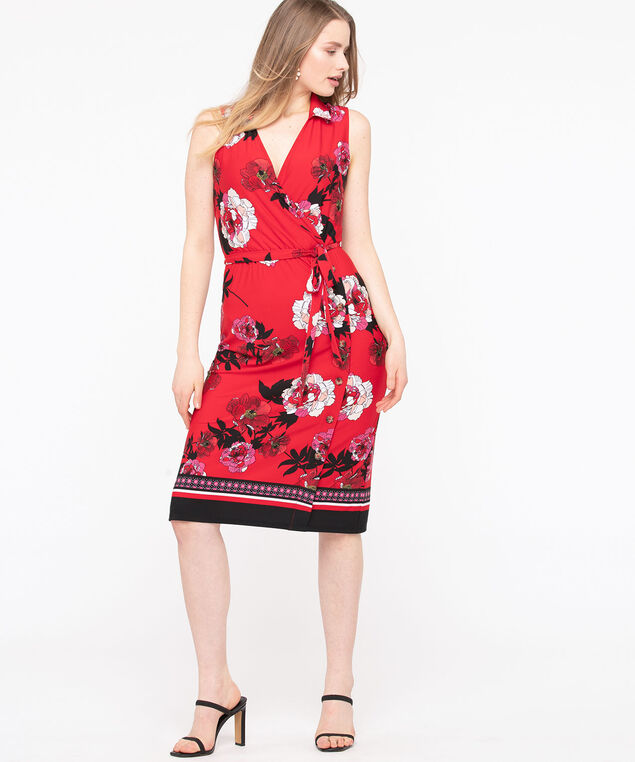 Sleeveless Collared Wrap Midi Dress, Hibiscus/Blossom/Black/White