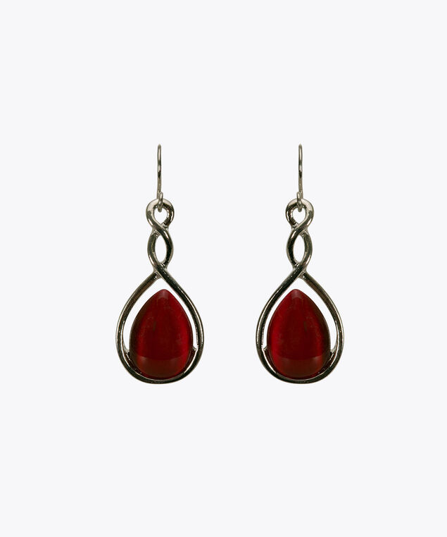 Teardrop Cateye Stone Earring, Poppy/Rhodium, hi-res