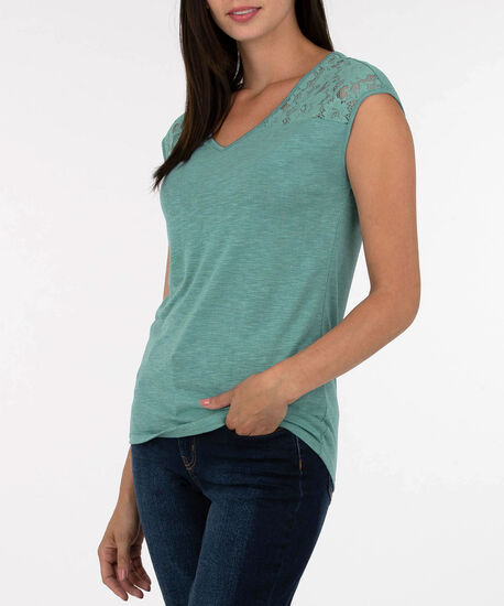 Lace Trim Extended Sleeve Top, Rain, hi-res