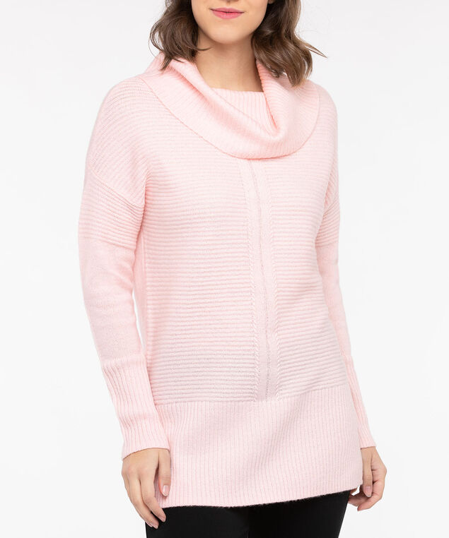 Ribbed Cowl Neck Sweater, Dusty Blush, hi-res