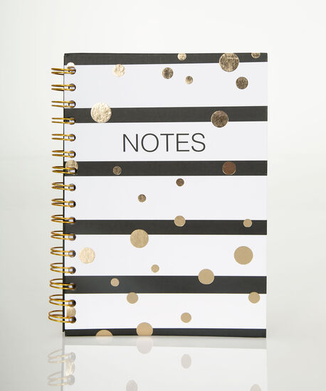 Stripes & Dots Spiral Notebook, Black/White/Gold, hi-res