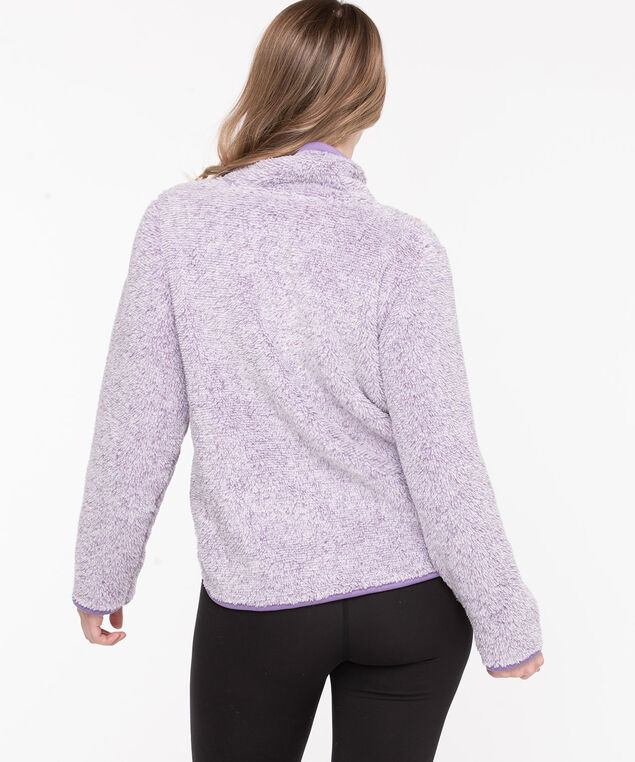 Plush Fleece Zip Neck Pullover, Purple Ash