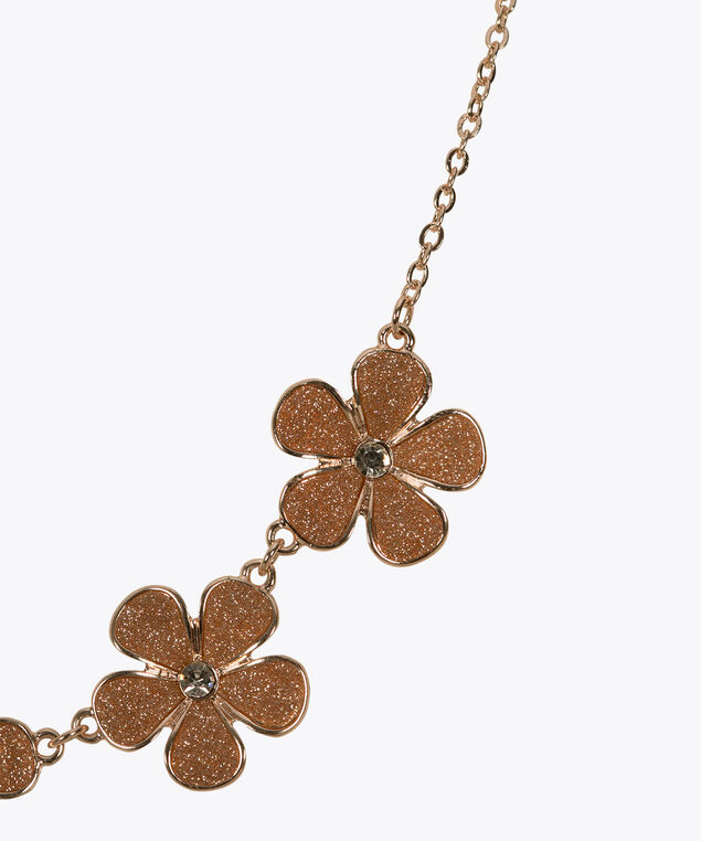 Floral Glitter Paper Statement Necklace, Rose Gold, hi-res