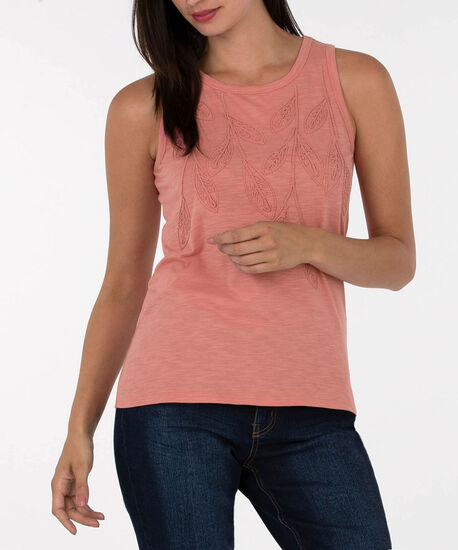 Sleeveless Embroidered Knit Top, Primrose, hi-res