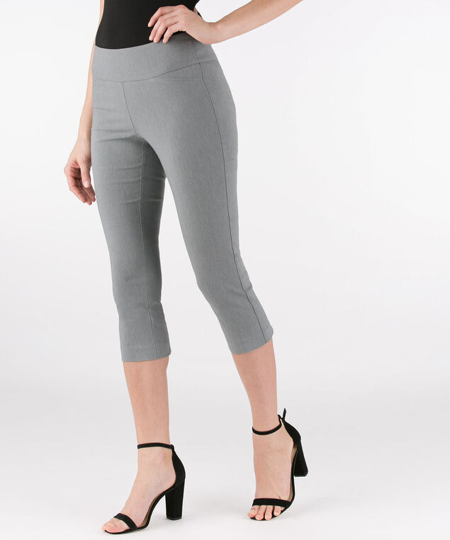 Back Slit Microtwill Capri, Heather Grey, hi-res