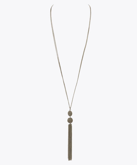 Chain-Wrapped Ball & Tassel Necklace, Rhodium, hi-res