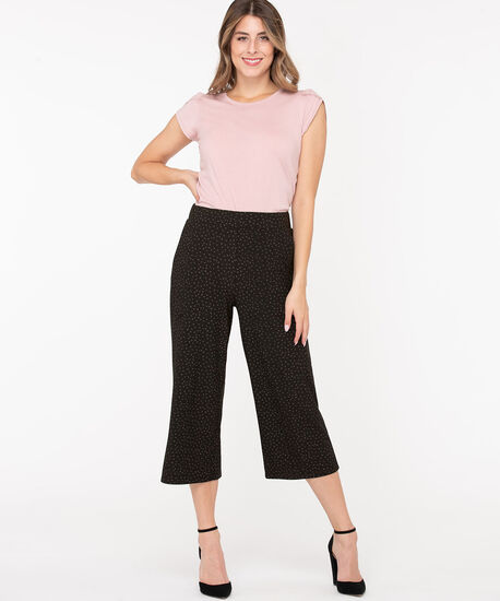 Knit Wide Leg Crop Pants, Black/Grey, hi-res