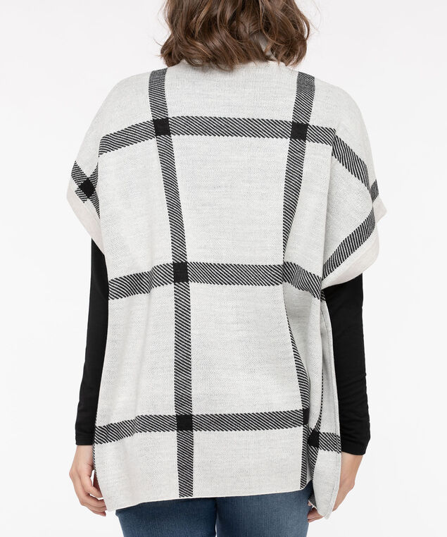 Plaid Mock Neck Poncho, Ecru/Black, hi-res