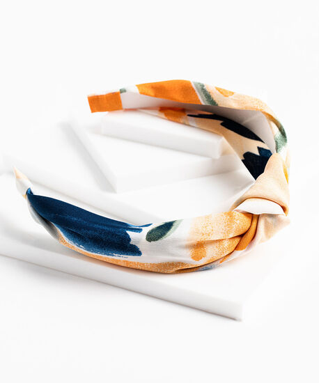Water Colour Print Knotted headband, Whisper White/Coral Reef/Frosty Green, hi-res