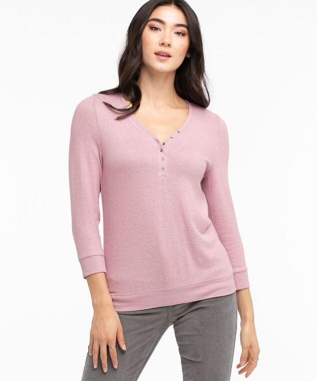 Ribbed Trim Henley Top, Mauve Shadow