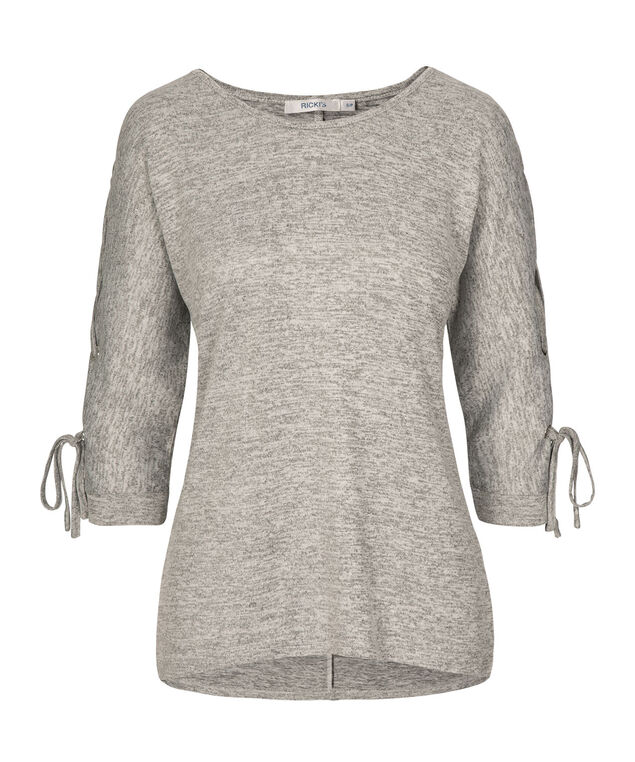 Grommeted Tie Sleeve Top, Grey/Black Mix, hi-res