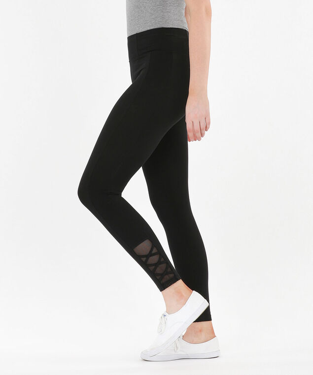 Mesh Criss-Cross Knit Legging - Ankle, Black, hi-res