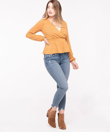 Cross Front Peplum Hem Top, Gold, hi-res