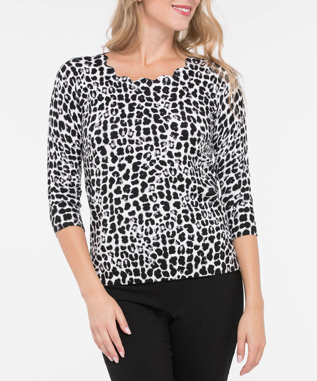 Animal Print Scalloped Neck Sweater, Black/Pearl/Grey, hi-res