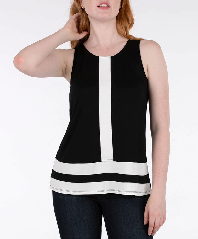Sleeveless Colourblock Top, Black/Pearl, hi-res