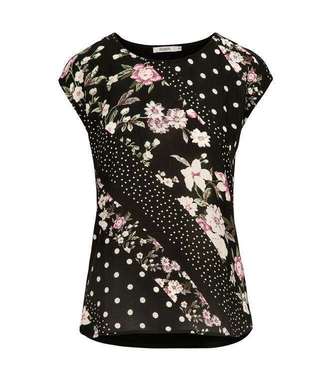 Extended Sleeve Mixed Media Top, Black/Pearl/Black Cherry, hi-res
