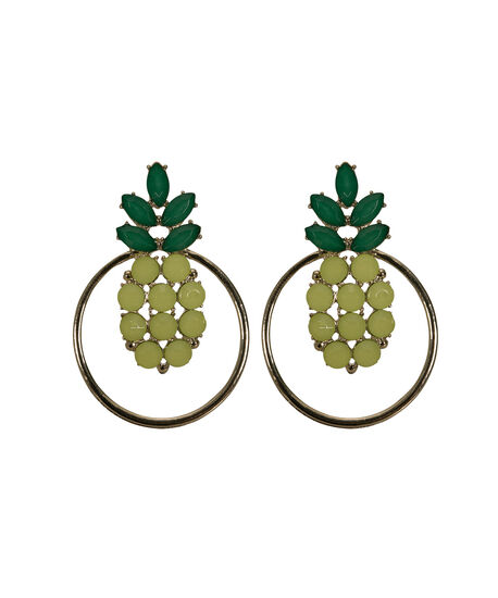 Crystal Pineapple Hoop Earring, Yellow/Green/Gold, hi-res