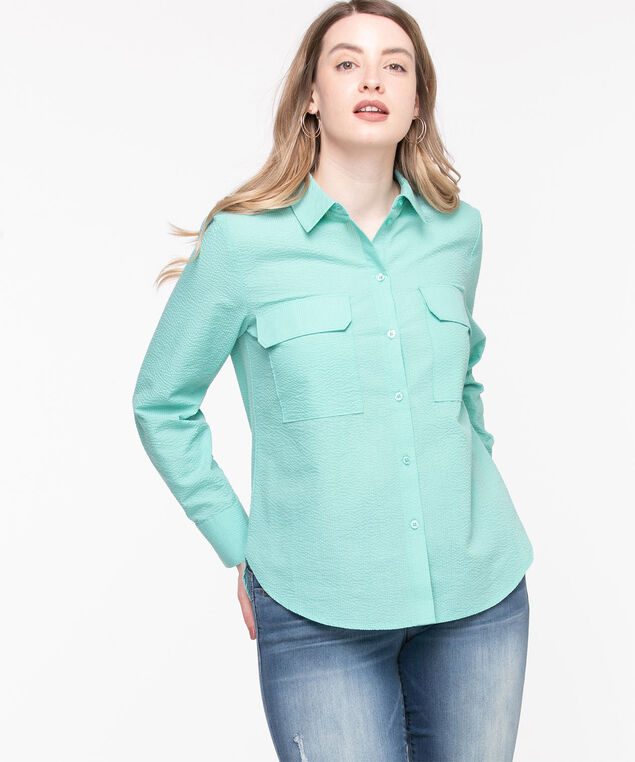 Utility Button Down Shirt, Angel Blue