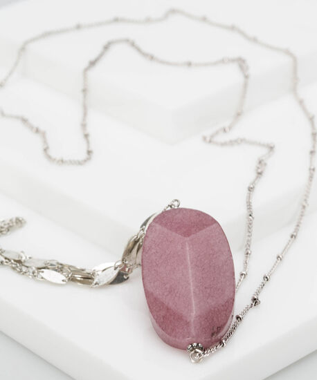 Natural Stone & Chain Tassel Necklace, Plum/Rhodium, hi-res