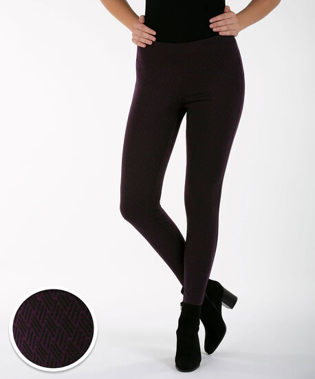 Luxe Ponte Print Legging, Blackberry, hi-res