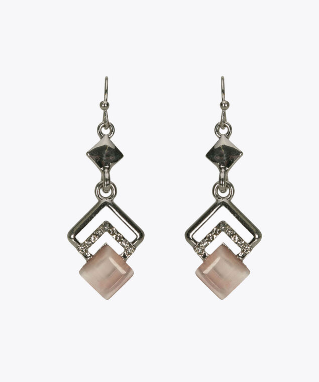 Cateye & Crystal Drop Earring, Pastel Pink/Rhodium, hi-res