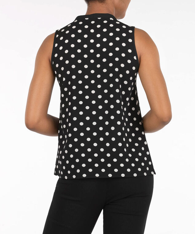 Sleeveless Bow Tie Blouse, Pearl/Black, hi-res