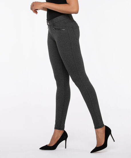 Luxe Ponte Button Front Skinny Leg, Charcoal, hi-res