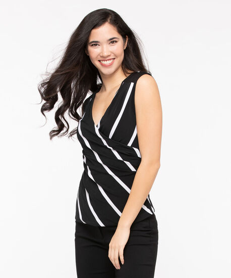 Sleeveless Wrap Front Top, Black/Pearl, hi-res