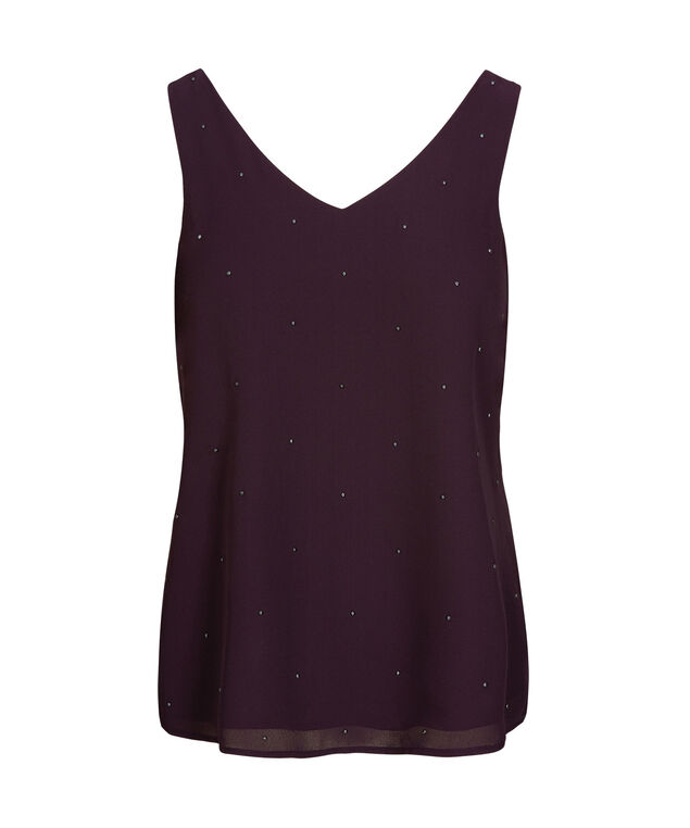 Studded Double-V Sleeveless Blouse, Blackberry, hi-res