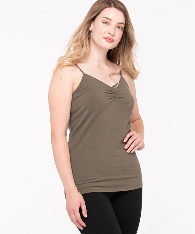 Strappy Ruched Neck Cami, Loden, hi-res