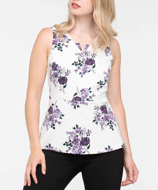 Sleeveless Ponte Peplum Top, Pearl/Mauve/Black, hi-res