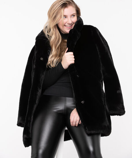 Black Faux Fur Coat, Black, hi-res