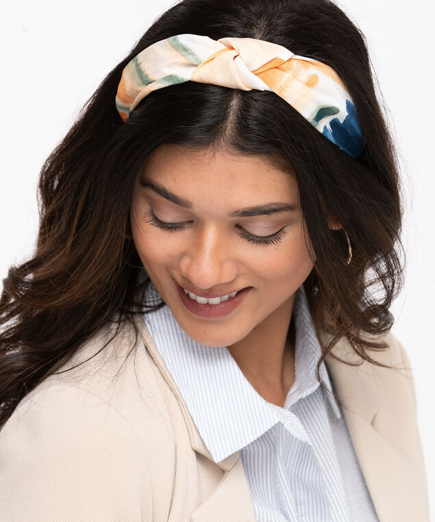 Water Colour Print Knotted headband, Whisper White/Coral Reef/Frosty Green