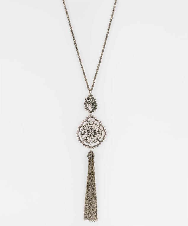 Filigree Tassel & Pendant Necklace, Gold, hi-res