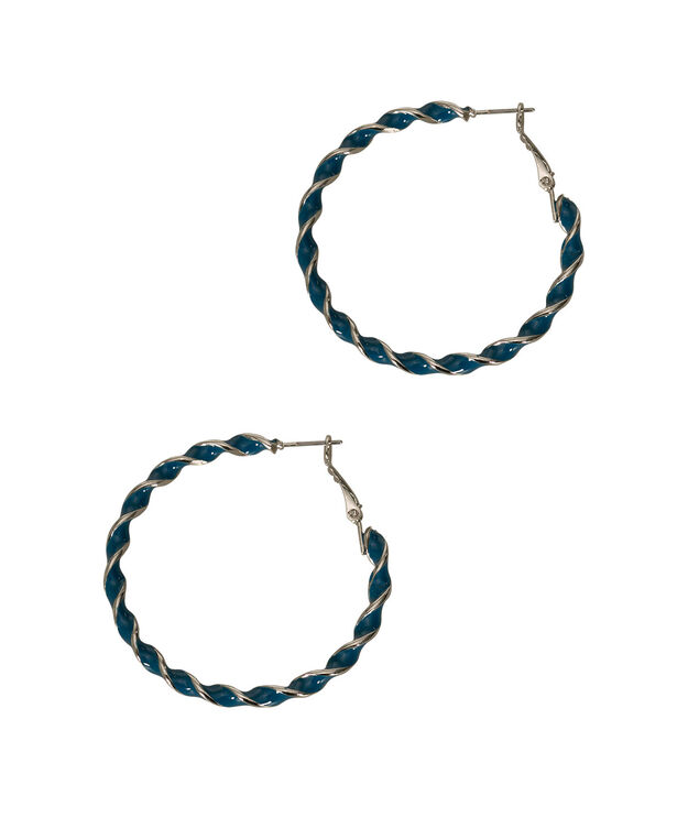 Painted Twisted Hoop Earring, Midnight Teal/Rhodium, hi-res